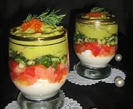 Веррине с сёмгой, сырным кремом и кремом из авокадо