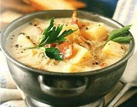Картофельный крем-суп с мидиями