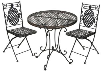 Металлические столы и стулья для кафе